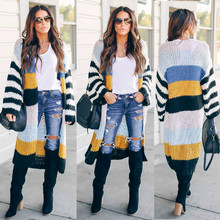 Fall 2019 Womens Long V Neck Striped Oversized Casual Sweaters Cardigan Patchwork Plus size Street Ankle Length Kardigan Sweter