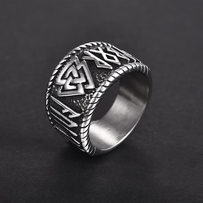 Silver Color Ring Nordic Viking Rune 316L Stainless Steel Biker Ring For Man Women Futhark Rune Odin Symbol Fashion Male Jewelry