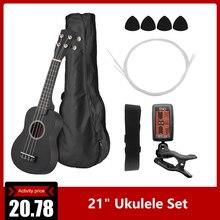"""2"""" набор укулеле липа цветная акустическая сопрано укулеле гитара музыкальный инструмент для начинающих с тюнером+ струна+ ремень+ сумка"""