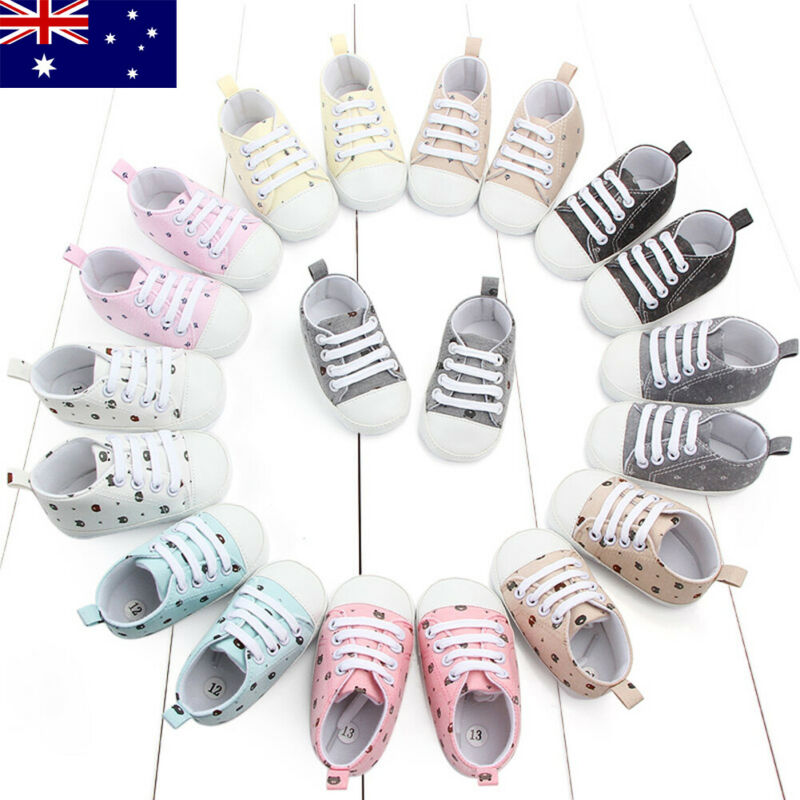AU Newborn Infant Baby Boy Girl Pram Shoes Kid Soft Prewalker Anti-crip Sneakers