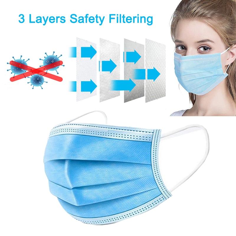 Image 3 - 50 Pcs 3 Ply Disposable Face Mouth Protective Masks Anti Haze Fog  PM2.5 Unisex Facial Safety Anti Dust Face Masks free shippingMasks
