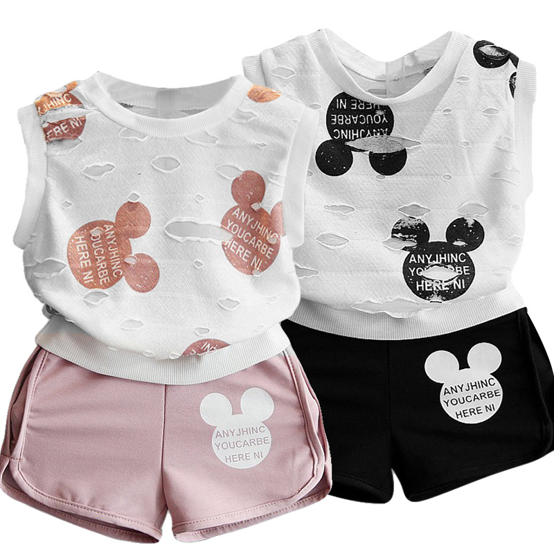 Girls Clothes 2019 Summer Style Boys Baby Girls Clothing Sets Cartoon Print T-shirt Short 2Pcs For Kids Clothes 3-7Y Children