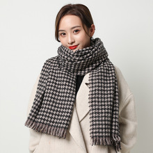 Fashion warm scarf imitation cashmere scarf women's winter scarf winter long style windmill checked shawl fashion scarf outdoor soft checked pattern fringed scarf