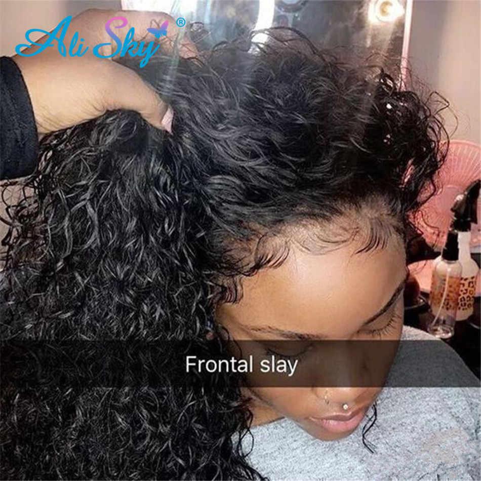 Ali Sky cabello rizado Afro rizado frente de encaje pelucas de cabello humano malayo HD peluca con malla frontal negro mujer arrancado con el pelo del bebé