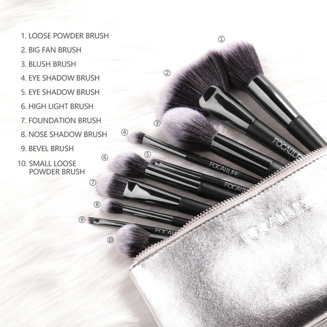 FOCALLURE 10 Pcs/Set Professional Makeup Brushes Kit with Eyeshadow Powder Brush Cosmetic Beautiful Make Up Brush Tools 3