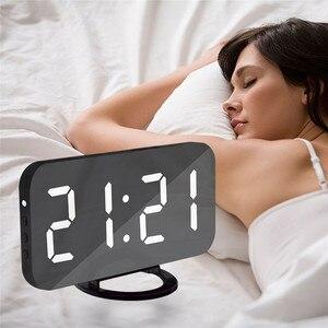 Image 2 - LED Alarm Clock Spiegel Digitale Uhr Snooze Zeit Temperatur Nacht Display Reloj Despertador 2 USB Ausgang Ports Tisch Uhr