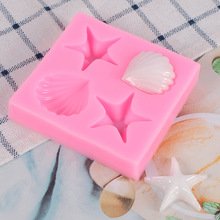 Baking mould Mirror surface 4 shells starfish glue mould Fondant chocolate cake decoration silicone mold Kitchenware premier housewares 6 starfish cake pop silicone mould red