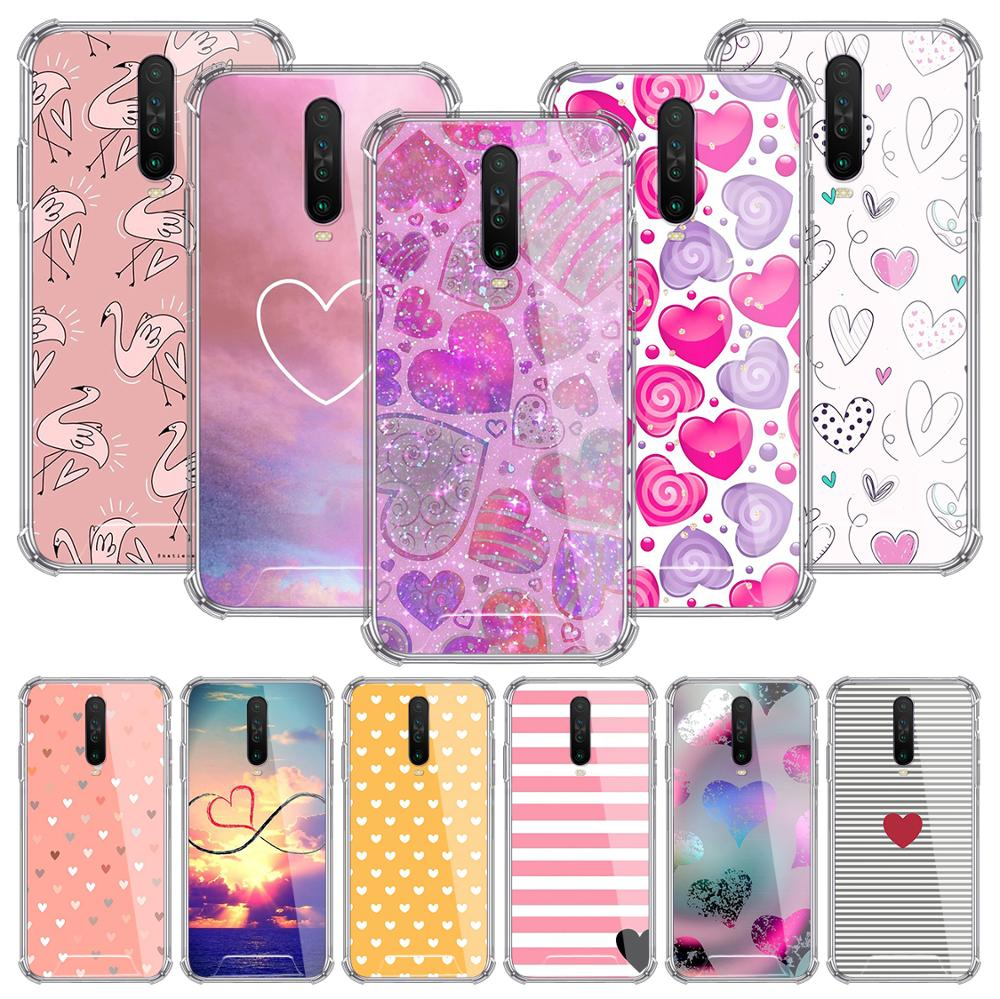 Cute Love Heart Case For Xiaomi Redmi Note 8T 9S 8 9 Pro 7 10X 5G K30 7A 6 Airbag Anti-Fall TPU Phone Cover Sac