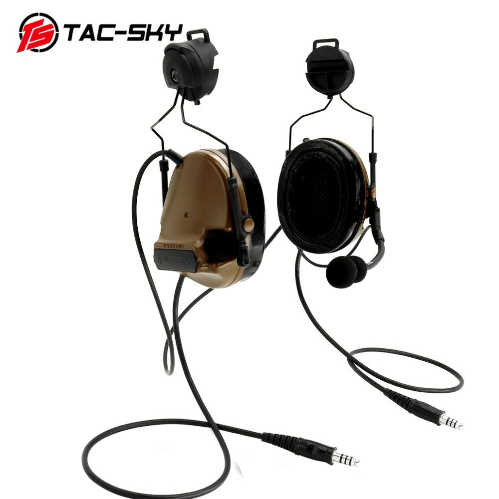 TAC-SKY COMTAC Tactical Stand Headset Comtac Iii Dual Pass Silicone Earmuff Helmet Stand Military Walkie Talkie Tactical Headset