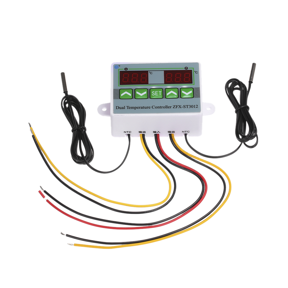 AC220V 12V 24V Digital LED Dual Thermometer Temperature Controller Thermostat In