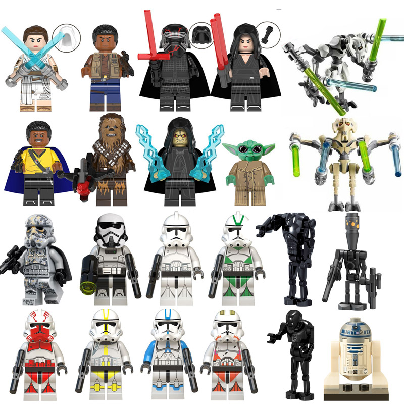 Single Star Wars Finn Lando Palpatine Baby Yoda Dark Rey Darth Vader Empire Mechanic Robot Building Blocks Model Bricks Toys