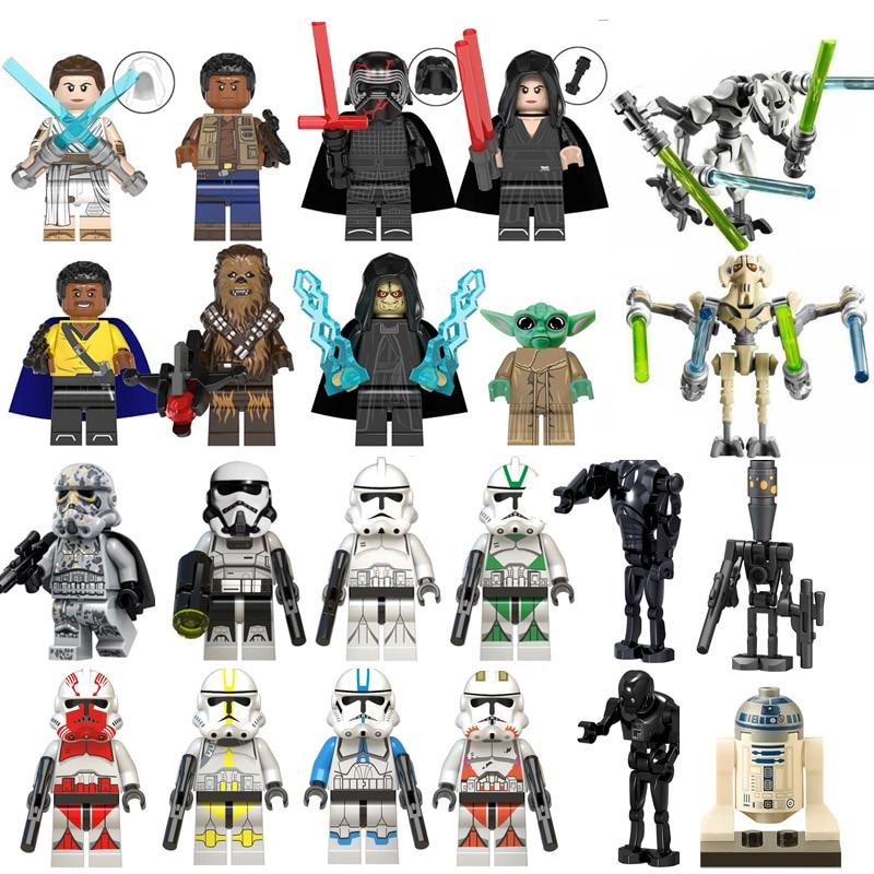 Single Star Wars Finn Lando Palpatine Baby Yoda Dark Rey Darth Vader Empire Mechanic Robot Building Blocks Model Bricks Toys