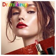 D Hot Sexy Waterproof Nude Glossy Lip Gloss Gold Lipstick Balm Red Tint  Women Fashion Makeup Gift Wholesale