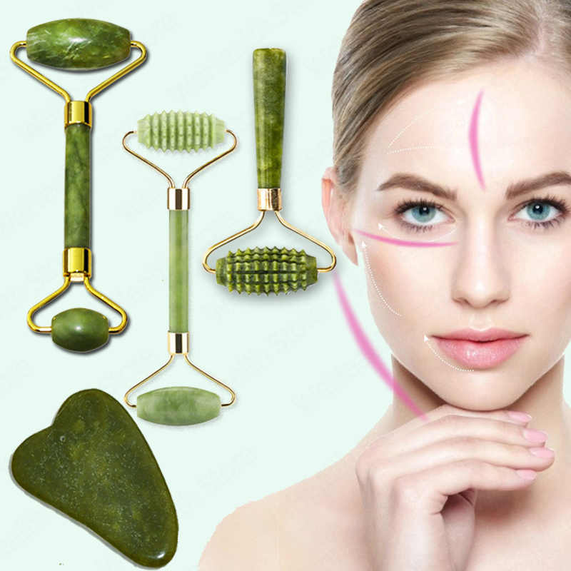 Natural Face Massager Guasha Jade Roller Scraperบำรุงผิวหน้าเครื่องมือRollerนวดMicroniddle Facial Cleanser Skin Care