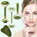 Натуральный массажер для лица Guasha, Нефритовый роликовый скребок, инструменты для ухода за кожей лица, роликовый массажный микронидл, очищаю...