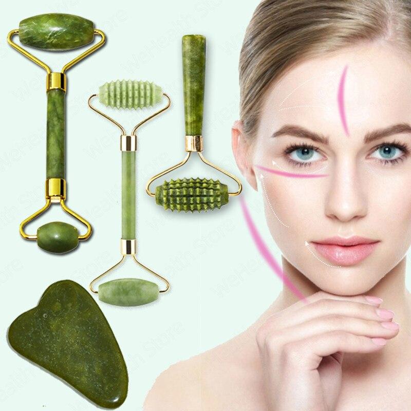 Natural rosto massageador guasha jade raspador de rolo ferramentas de cuidados com a pele facial massagem rolo microniddle limpador facial cuidados com a pele