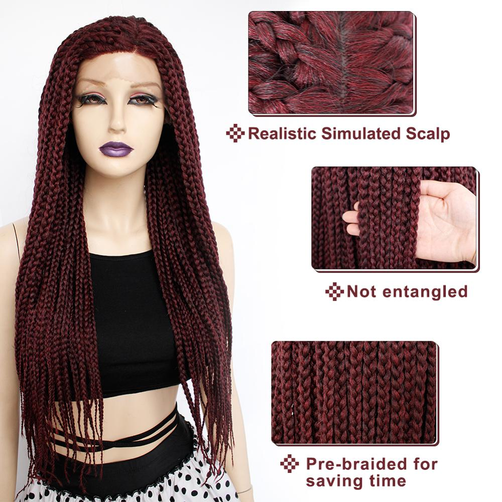 Ebingoo longue boîte sans colle bordeaux tressé synthétique dentelle avant perruques torsion tresses Futura perruque pour Afro noir femmes vêtements quotidiens