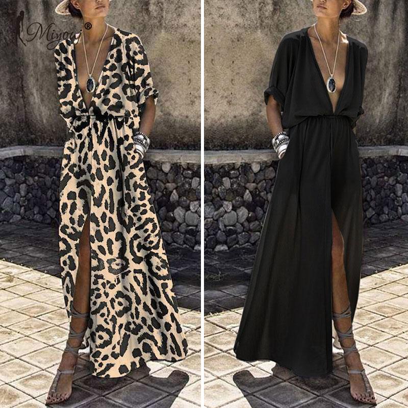 Miyouj Sexy Deep V Neck Beach Cover Up Middle Sleeve Maxi Dress Women Bathing Suit Summer Long Beach Dress Plus Size Beachwear
