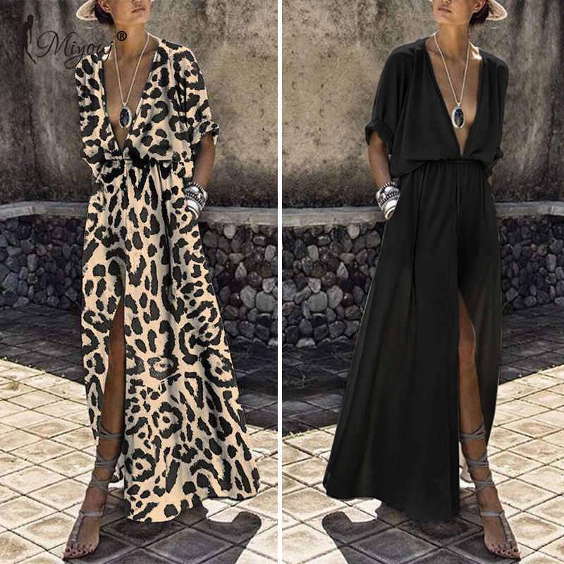 Miyouj Sexy Deep V Neck Beach Cover Up Tengah Lengan Maxi Dress Wanita Baju Musim Panas Pantai Gaun PLUS ukuran Beachwear