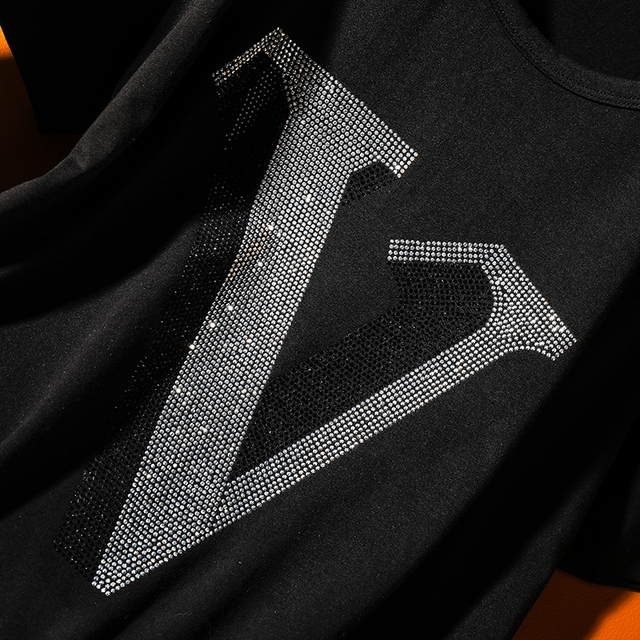"Fashion Leisure hot diamonds alphabet ""V"" short-sleeve t-shirt female 2021 summer new Round neck hot drill loose women tops 4"