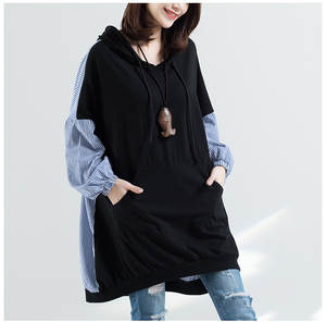 2018 Autumn New Products Plus-sized Stripes Joint Korean-style Loose Fashion Large GIRL'S