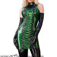Зеленое и черное сексуальное латексное платье со шнуровкой спереди