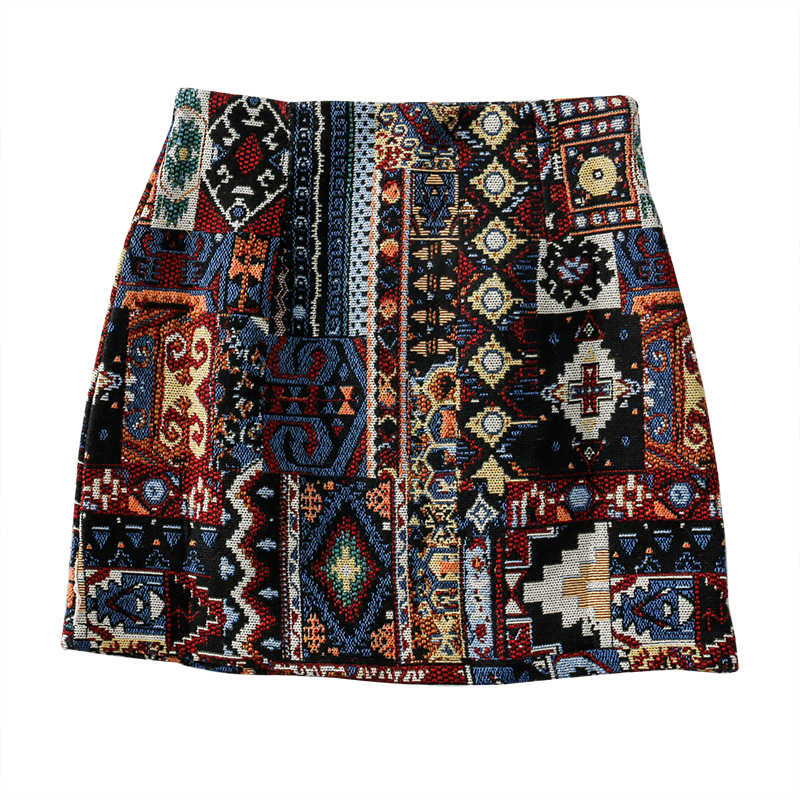 HELIAR Retro Embroidery High Waist Skirts Spring Mini Wide Leg BOHO Vintage Mini Women 2019 New Slim Slimming Wild A-Line Skirt