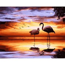 DIY Frame Hand Painted Canvas Oil Paintings Animal Pink Flamingo Pictures By Numbers Painting On Handmade Gift
