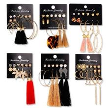 цена на Stud Earrings for Women Tassel Round Stud Earrings Black Acrylic Korean Long Earrings Sets Mixed Square Rhinestone Fashion
