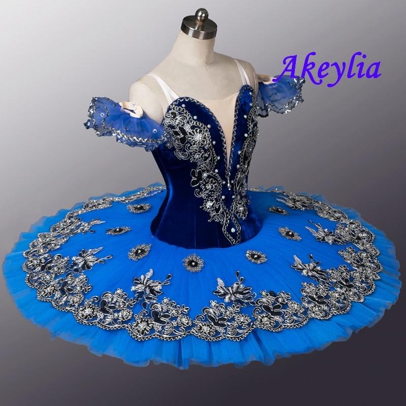 Velluto Royal Blue Bird Variazione di Balletto Professionale Tutu Donne Clsssical Tutu Pancake Del Costume Delle Ragazze Blu Swanlake Bambini - 2