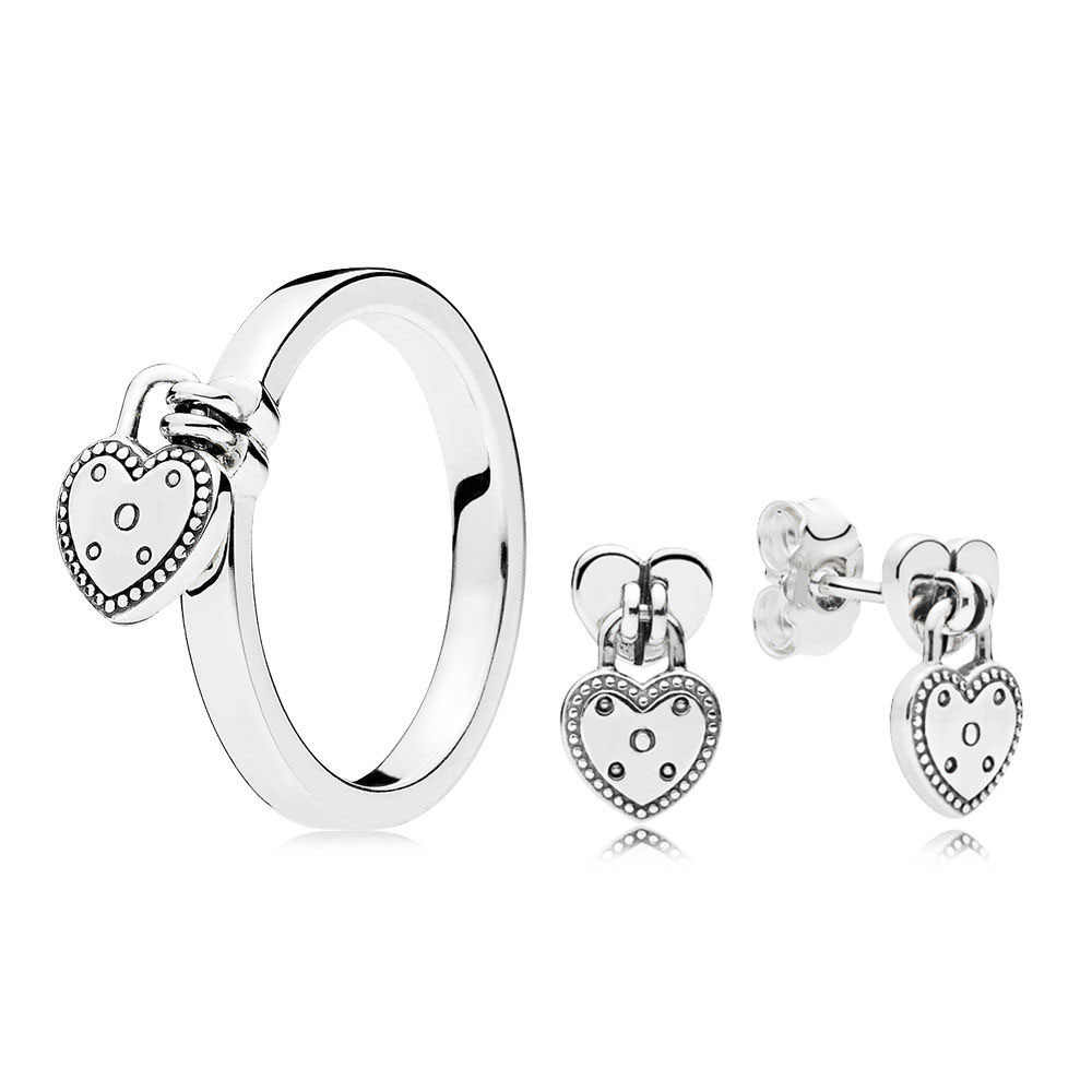 CHAMSS 2019 Fashion New Original S925 Love Lock Ring And Earring Set Women Personality Simple Jewelry Set Celebration Gifts