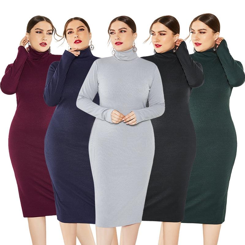 Knitted Turtleneck Sweater Bodycon Dress Autumn Winter Casual Fit Elegant Women's Dresses Plus Size 5XL Pencil 5 Colors Vestidos