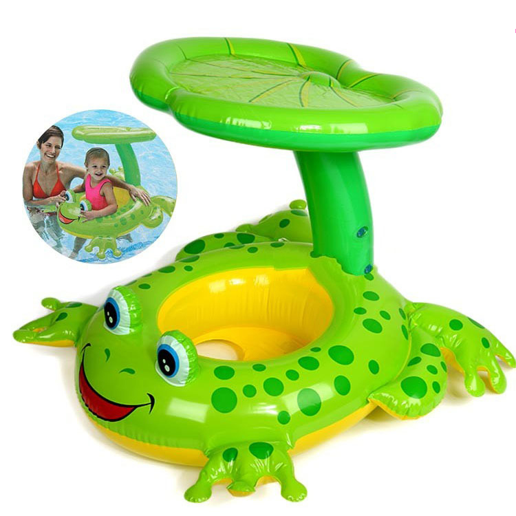 Frog Umbrella Cap Baby Water Sunshade Inflatable Swimming Ring Inflatable Toys  Pool Floats For Children Water Pool Rafts Funny
