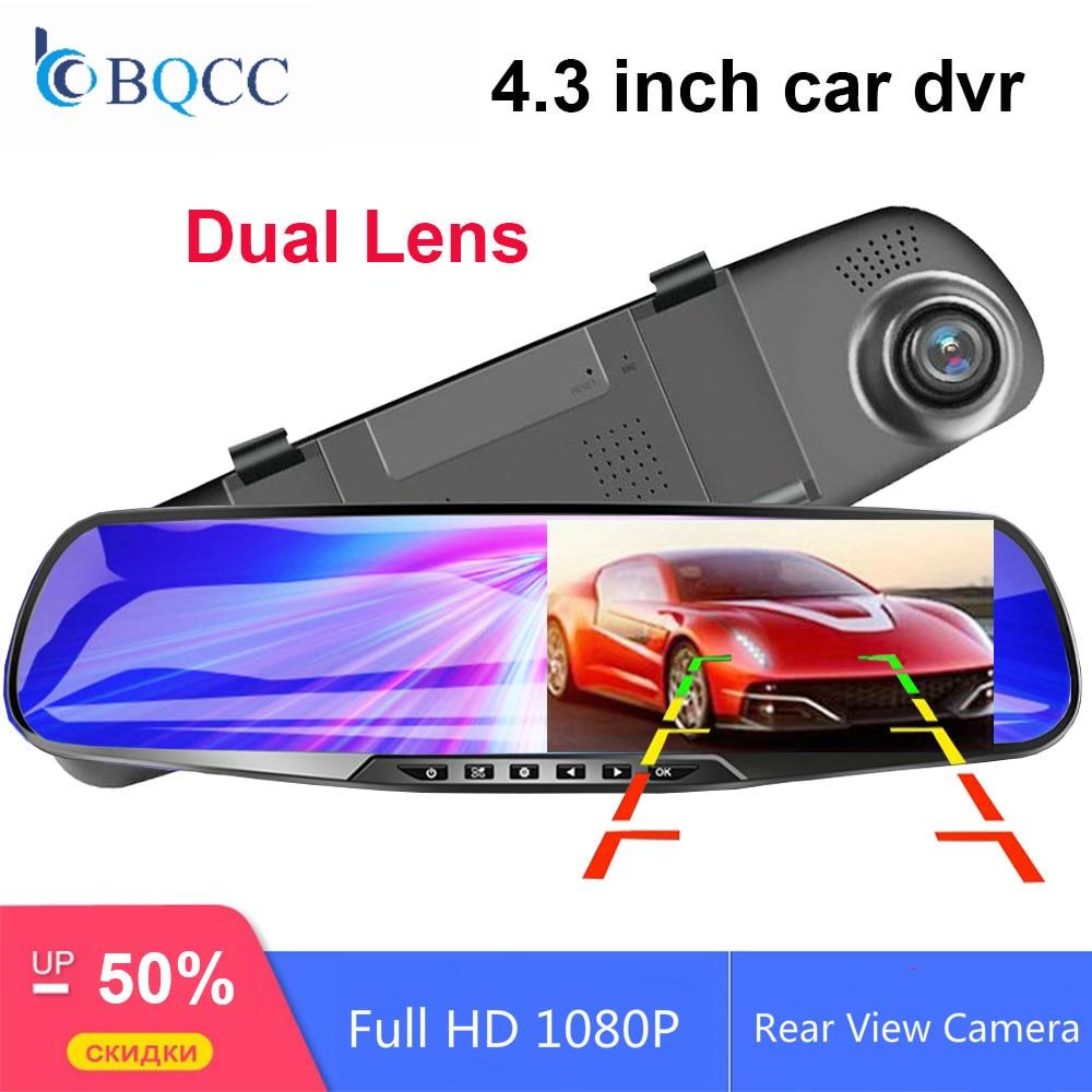 Car DVR Camera Dual-Lens Rearview-Mirror Dash-Video-Recorder 1080P Full-Hd