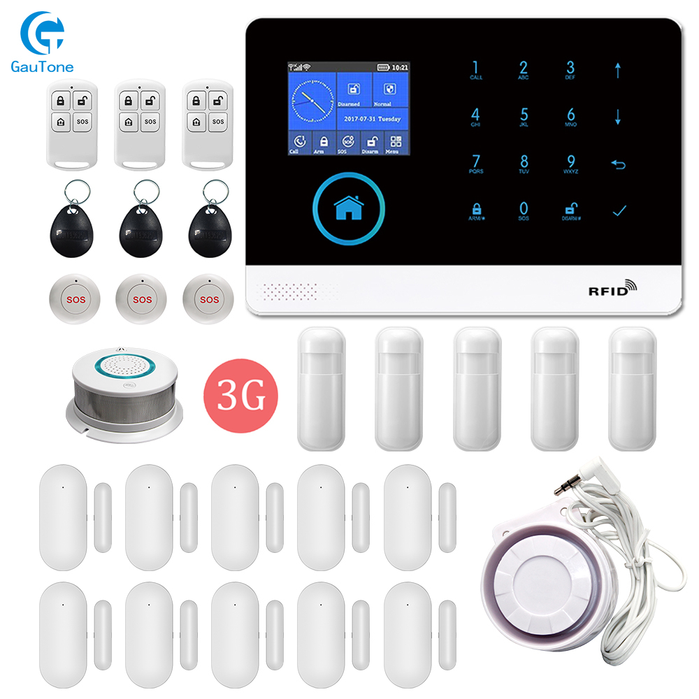 Wireless WiFi 3G Home Fireproof&Burglar Intelligent Security Alarm System LCD Touch Keyboard Sensor Kit Multi-language Switching