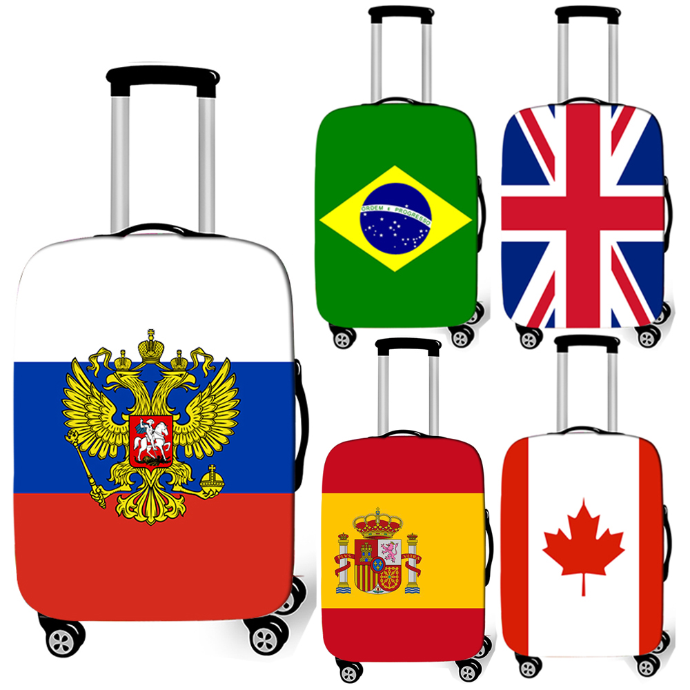 Russia / Spain / Uk National Flag Luggage Cover For Travelling Anti-dust Suitcase Cover Trolley Case Baggage Protective Covers