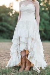 2020 кантри западные Высокие Низкие Свадебные платья кружевное милое кружевное Многоуровневое платье на заказ трапециевидного размера плюс ...