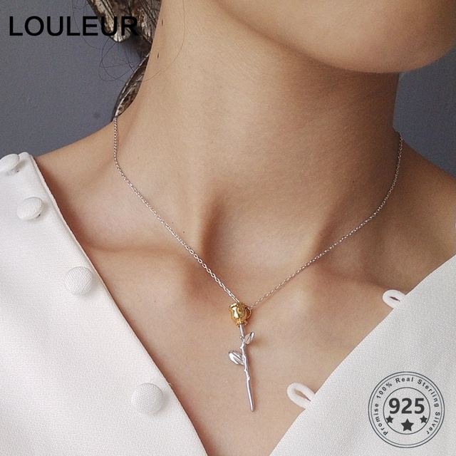LouLeur 925 sterling silver rose flowers pendants necklace little Prince rose flowers fashion necklace for women charms jewelry