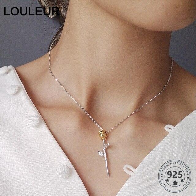LouLeur 925 sterling srebrna róża kwiaty wisiorki naszyjnik mały książę róża kwiaty modny naszyjnik dla kobiet piękna biżuteria