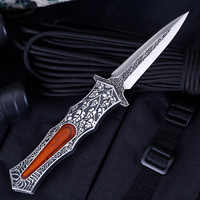 High Quality Folding Pocket Knife Damascus Wood Handle Tactical Knives Outdoor Survival Combat Knives Camping Hunting EDC Tool