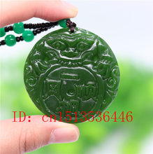 Chinese Green Jade Dragon Pendant Necklace Fashion Accessories Jewelry Carved Amulet Luck Gifts Women Sweater Chain(China)