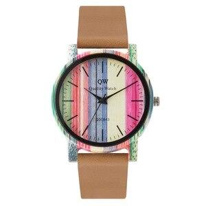 Image 2 - QW ספורט עץ שעוני יד אופנה עור צבעוני נשים בנות מותאם אישית עץ במבוק שעון