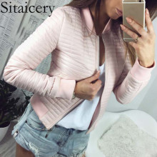 Sitaicery Women Spring Autumn Coat Short Outerwear Cotton Padded Warm Jacket Outerwear Casual Pink Black Thin Female Clothes