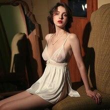 Lingerie Sexy Paixão das Mulheres Seção Fina Seda Gelo Perspectiva Backless Lace Sling Nightdress Nightgowns Mulheres Dormindo Vestido