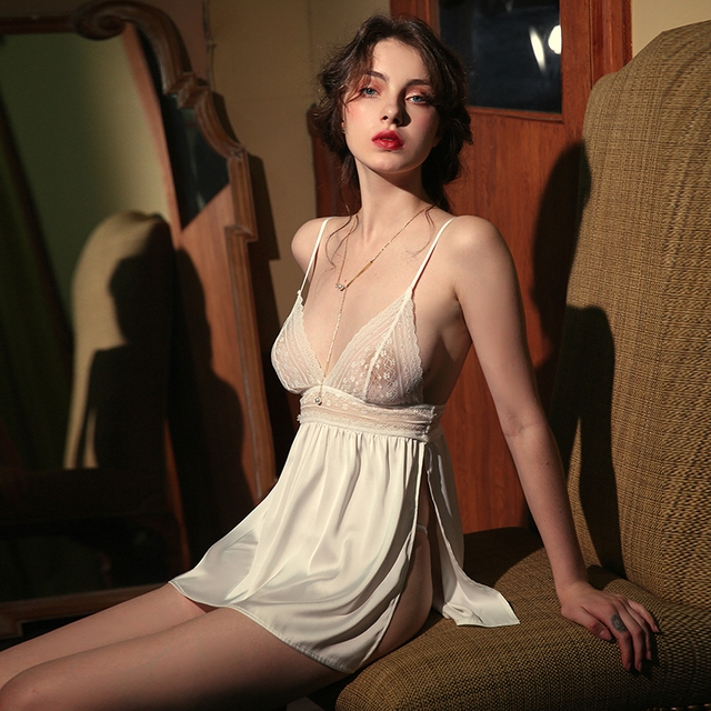 Sexy Lingerie Womens Thin Section Ice Silk Perspective Backless Passion Lace Sling Nightdress Nightgowns Women Sleeping Dress