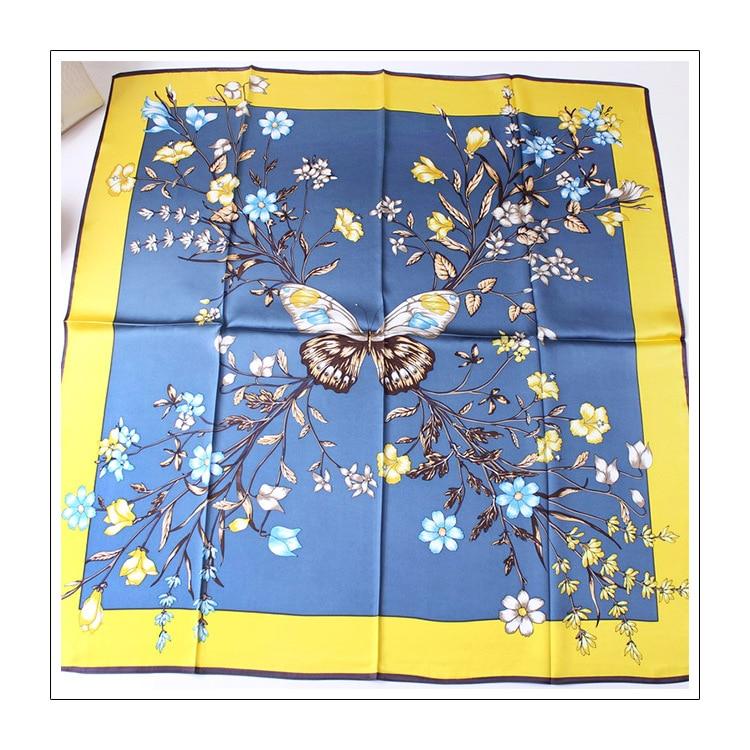 Beautiful Butterflies Love Print Scarf Pure Silk Shawl Neck Wear Pashmina Elegant Accessory Square Scarves 88*88cm FJ161