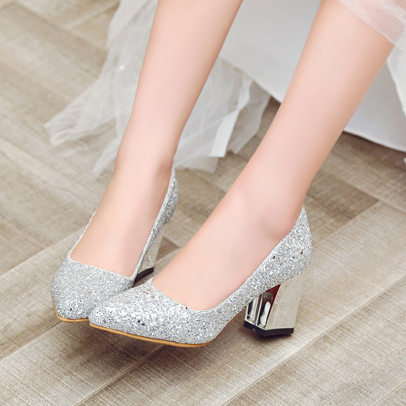 2018 Summer Women Wedding Shoes Bride Silver Gold Red Crystal Glitter Chunky High Heel Pumps Ladies Party Shoes Big Size