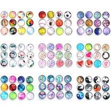 10 pçs cores misturadas 18mm vida cabochão de vidro botões de pressão da árvore caber diy snap pulseira de jóias oem odm botões de impressão zb305