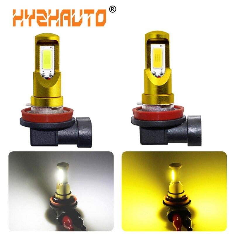 HYZHAUTO 2Pcs H8 H11 LED White Yellow Fog Light Bulbs High Power COB Car LED Fog Lamp DRL Auto Headlight 2000Lm 12-24V