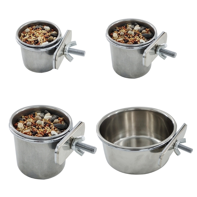 Hanging Stainless Steel Cage Feeding & Watering Bowls For Parakeets -Lovebirds -Finches - Parrots 1